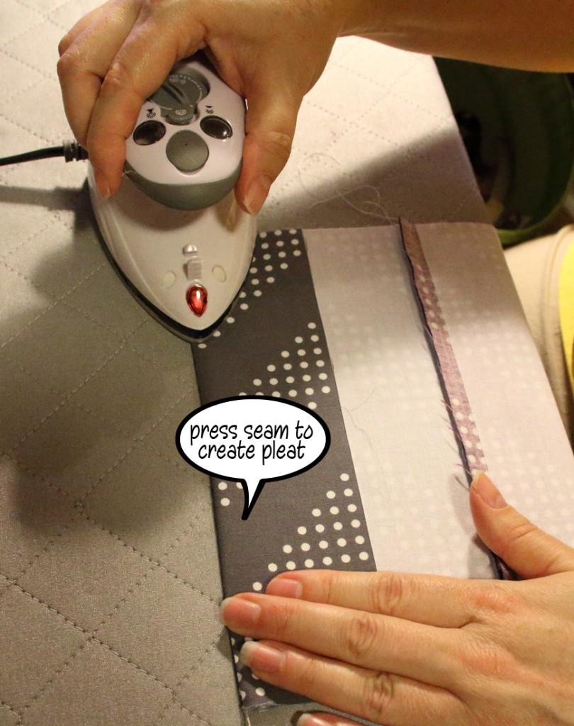 press seam to create pleat