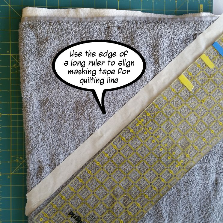 use masking tape to mark quilt lines